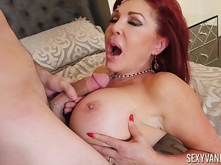 Busty matured redhead nympho Blue Vanessa wants cum on her huge tits