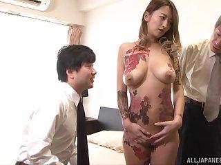Prexy tattooed Japanese Narumiya Kanna cum sprayed by two horny guys