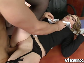 Dissipated secretary punished there spanking and anal sex