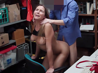 Shy heavy-breasted young shoplifter nailed on CCTV by an bureaucrat
