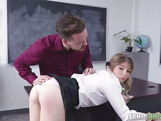 This rollicking hot coed wants her teacher's cock and she can hold out any longer