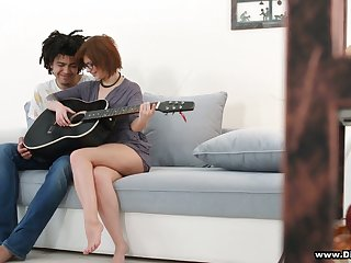 Shy red head in glasses Rebecca Rainbow is fucked by handsome guitar omnibus