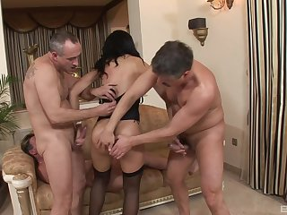 MILF brunette in underthings Holly West gets three facials in a triptych