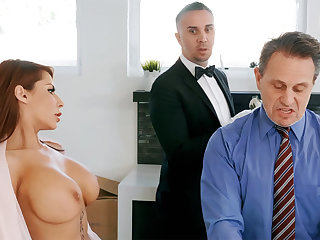 Horny butler is on the very point of anal fuck housewife