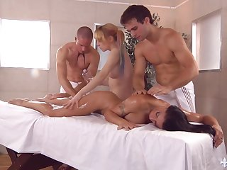 Oiled and sensitive Caprice Black has a happy ending massage and organize intercourse