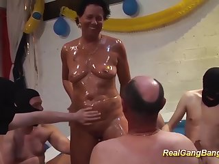 horny german grandmas first extreme oiled gangbang swinger charge from party orgy