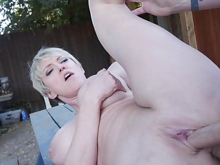 Milf makes good use of his big cock into public notice
