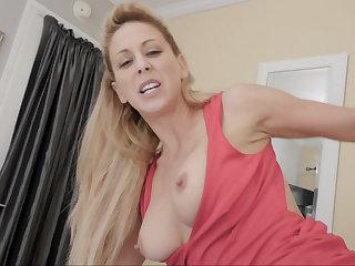 Big-breasted stepmom blows a concurring boy