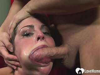 Her face turns red not later than deepthroat personify