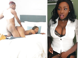 Young ebony have sex while stepmom helter-skelter stealthful