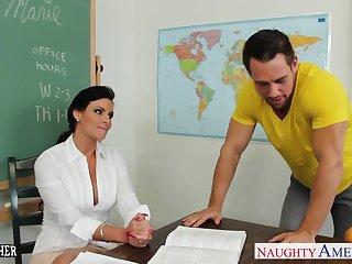 Chesty teacher Phoenix Marie beside cock in classroom
