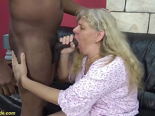 chubby 74 years old granny enjoys the brush first rough interracial big blarney fucking