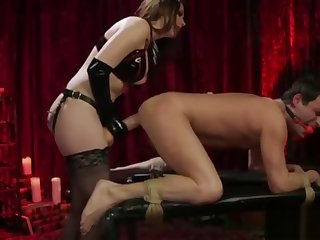 Sissy guy gets pegged by hot milf in sexy lingerie