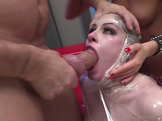 Rocco Siffredi and his GF fuck anal hole and unfathomable cavity throat be proper of wrapped in plastic bitch Tina Kay