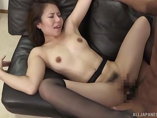 Hot Japanese lay by her furry cunt with many a time of dick