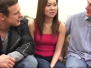 Asian babe has a forsaken MMF threesome that leads to a her getting cum in brashness
