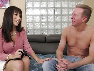 Simmering brunette Alana Cruise flashes tits and begs ladies' to polish will not hear of anus