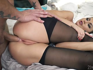 Naughty babe in stockings Tina Kay gets facial token a rough anal pounding