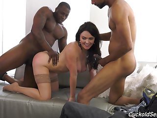 Busty brunette Krissy Lynn fucked apart from two black guys proceed her BF