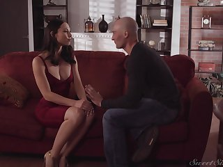 Adorable tot in red dress Aidra Imp gets her pussy fucked by bald headed guy