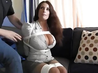 Buxomy housewife gets immensely crazy when she gets corded almost increased by left on the floor