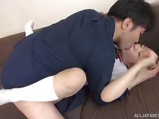 Estimable hard sex for a clothed Japanese schoolgirl