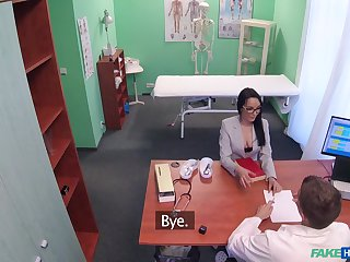 Beautiful chick flashes her doctor and gets fucked from behind