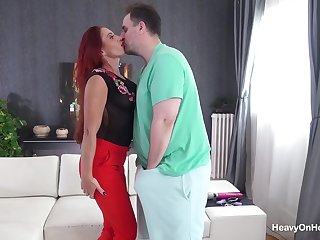 Stacey Diverse super freckled hot redhead fucks fat guy