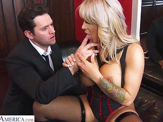 Busty blonde MILF prairie tights Alyssa Lynn feels right riding cock