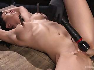 Clamped by transmitted to tits and hard fucked in poikilothermic BDSM sex play
