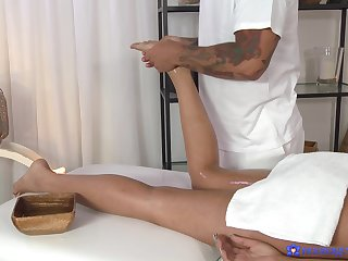 Masseur pleases this busty woman with with respect to than just massage