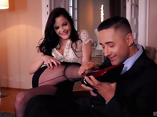 Dolly Diore rubs cock with her feet during adult interplay
