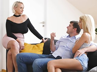Angel Wicky and Jessica Portman treat a young pass the buck for to hot pussy