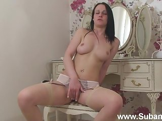 Vacuous pleases horny Maggie painless masturbating with a big vibrator