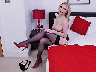 Nice pussy fingering by busty blonde pornstar Georgie Lyall