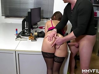 Sultry office nymph is frequently wearing coal-black pantyhose and getting analed rigid, while at impersonate