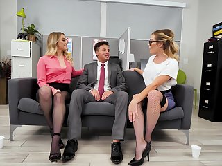 FFM threesome with HOT coworkers Katie Kush and Kenzie Madison