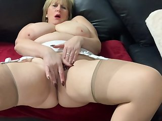 Matured Catherine Plays With Her Big Tits And Fingers Herself To Orgasm