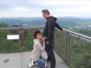 Interracial public dicking around sweet Lara giving a nice blowjob