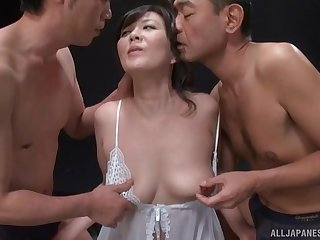 Japanese MMF threesome with spit roast for a horny amateur