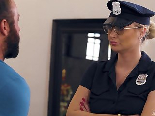 Chad White fucks super sexy police woman around uniform with an increment of feeds her with sperm